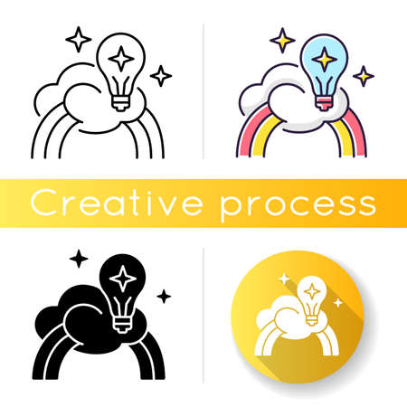 Inspiration icon. Creative mind. Motivation for curiosity. Imagination of artist. Dreamy vision. Happiness from healthy mental state. Linear black and RGB color styles. Isolated vector illustrations