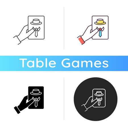 Guess game icon. Traditional party entertainment, social deduction game. Linear black and RGB color styles. Friendly company, group activity. Hand holding card isolated vector illustrations