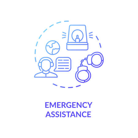 Emergency assistance concept icon. Foreign country citizens support. Call center representative idea thin line illustration. Vector isolated outline RGB color drawing