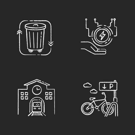 Eco friendly city chalk white icons set on black background. Electricity supply. Waste disposal. Railway station. Passenger commuter. Bicycle parking rack. Isolated vector chalkboard illustrations