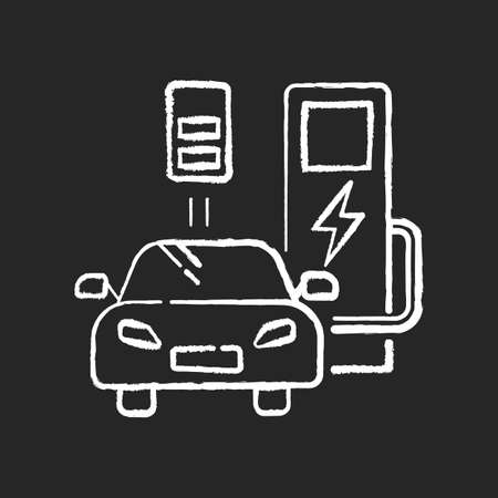 Charging station chalk white icon on black background. Gas alternative for transport. Hybrid car. Ecological power supply for vehicle. Energy terminal. Isolated vector chalkboard illustration