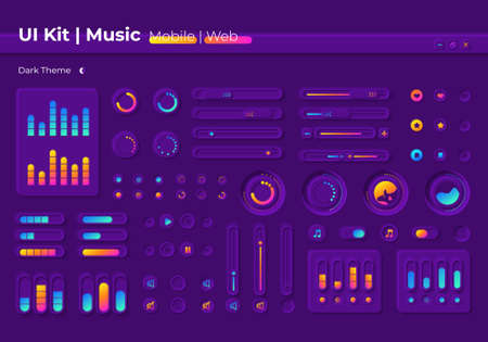 Music UI elements kit UI elements kit. Multimedia player settings isolated vector icon, bar and dashboard template. Web design widget collection for mobile application with dark theme interface