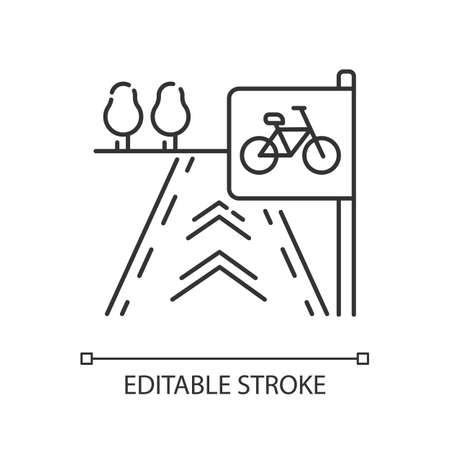 Bicycle lane pixel perfect linear icon. Path to exercise on bike. Pedestrian street. Thin line customizable illustration. Contour symbol. Vector isolated outline drawing. Editable stroke
