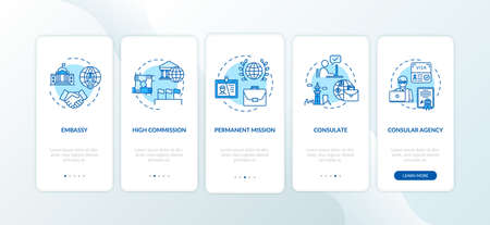 Political cooperation onboarding mobile app page screen with concepts. High government representative walkthrough 5 steps graphic instructions. UI vector template with RGB color illustrations