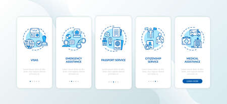 Administration assistance onboarding mobile app page screen with concepts. Passport help. Social service walkthrough 5 steps graphic instructions. UI vector template with RGB color illustrations