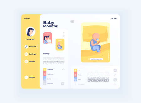 Parenting baby control tablet interface vector template. Mobile app page day mode design layout. Infant monitoring screen. Flat UI for application. Childcare for mother. Portable device display