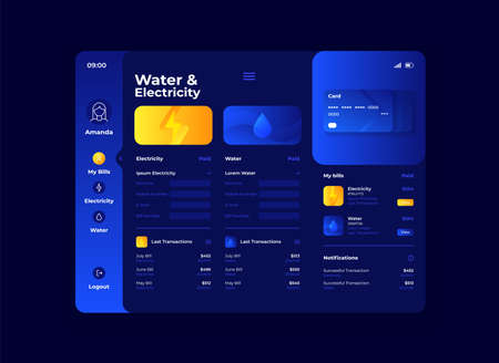 Water and electricity cost tablet interface vector template. Mobile app page night mode design layout. Utility bills screen. Flat UI for application. Finance and banking. Portable device display Vettoriali