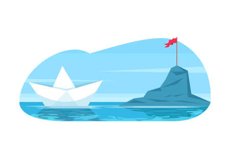 Challenge metaphor semi flat vector illustration. Business objective and career goal. Future discovery. Paper toy boat navigate to reach mountain. 2D cartoon objects for commercial use 向量圖像
