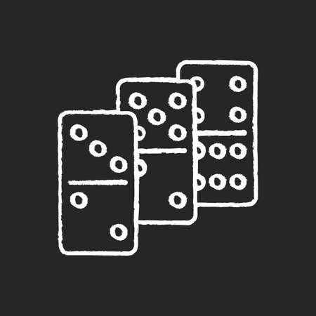Dominoes chalk white icon on black background. Traditional tabletop game, gambling activity. Recreational activity, competitive game of chance. Domino pieces isolated vector chalkboard illustration 版權商用圖片 - 148167301
