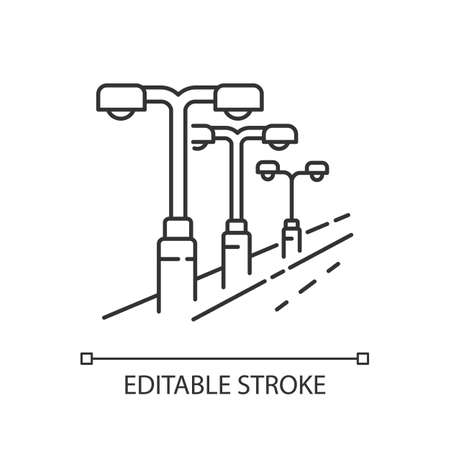 Street lighting pixel perfect linear icon. Lamp pillar row in public area. Downtown night lantern. Thin line customizable illustration. Contour symbol. Vector isolated outline drawing. Editable stroke