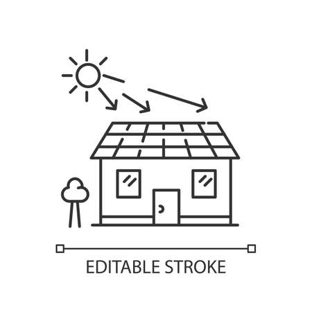 Solar batteries pixel perfect linear icon. Ecological power generation. Electricity supply. Thin line customizable illustration. Contour symbol. Vector isolated outline drawing. Editable stroke