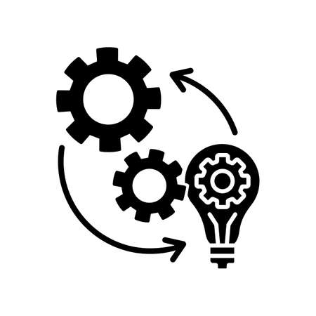 Implementation black glyph icon. Technical development. Optimization of mechanical production process. Smart management. Silhouette symbol on white space. Vector isolated illustration Vecteurs