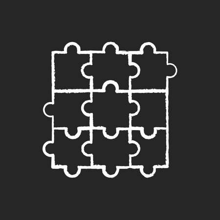 Jigsaw puzzle chalk white icon on black background. Traditional intellectual pastime, educational leisure game. Recreational activity. Combined puzzle pieces isolated vector chalkboard illustration