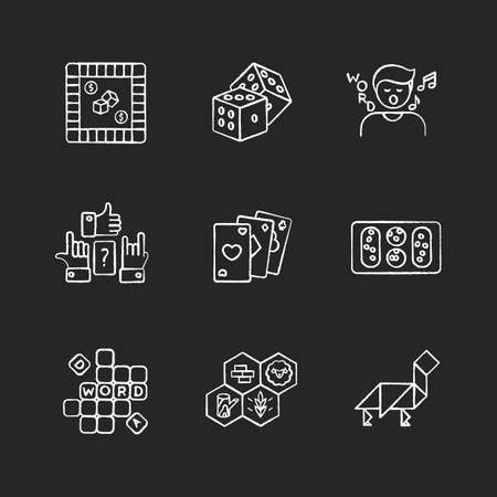 Entertaining games chalk white icons set on black background. Traditional fun activities for family recreation and friendly parties Different board games. Isolated vector chalkboard illustrations