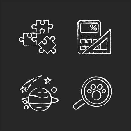 Natural and formal sciences chalk white icons set on black background. Different scientific fields of study. Logic, mathematics, astronomy and zoology. Isolated vector chalkboard illustrations