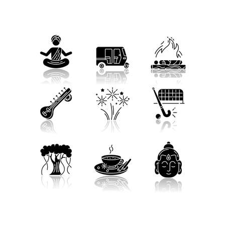 Indian customs drop shadow black glyph icons set. Religious ceremonies. Buddha. Sitar instrument. Yoga practitioner. Hindu funeral. Tuk tuk. Banyan tree. Isolated vector illustrations on white space