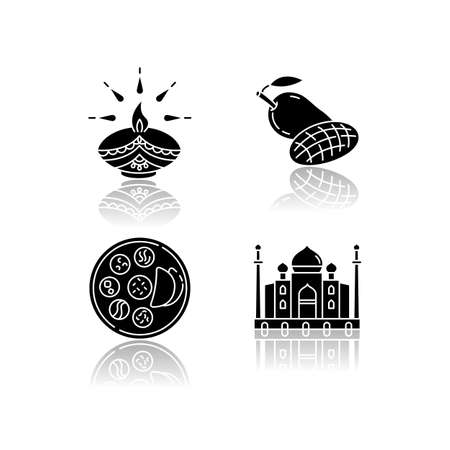 Indian culture drop shadow black glyph icons set. Traditional diya. Diwali festival. Mango fruit. Tropical food. Thali dish. Chapati bread. Taj Mahal. Isolated vector illustrations on white space