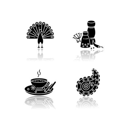 Indian culture drop shadow black glyph icons set. National animal. Peacock. Traditional cuisine. Masala chai. Paisley pattern. Spices and herbs. Isolated vector illustrations on white space Illustration