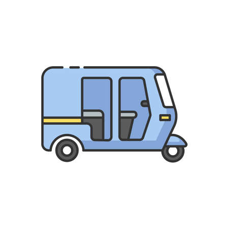 Auto rickshaw RGB color icon. Tuk-tuk. Indian transport. Traditional vehicle. Three-wheeler. Asian city transportation mode. Urban commuting. Isolated vector illustration