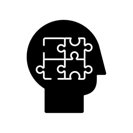 Elaboration black glyph icon. Puzzled mind. Logical mindset. Counseling for psychological problem. Analysis for smart solution. Silhouette symbol on white space. Vector isolated illustration