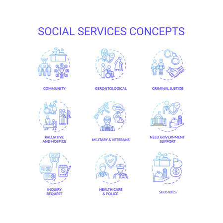 Social services concept icons set. Criminal justice. People medical and financial support organizations idea thin line RGB color illustrations. Vector isolated outline drawings Illusztráció