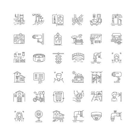 City infrastructure pixel perfect linear icons set. Traffic control. Pipeline for resource. Customizable thin line contour symbols. Isolated vector outline illustrations. Editable stroke