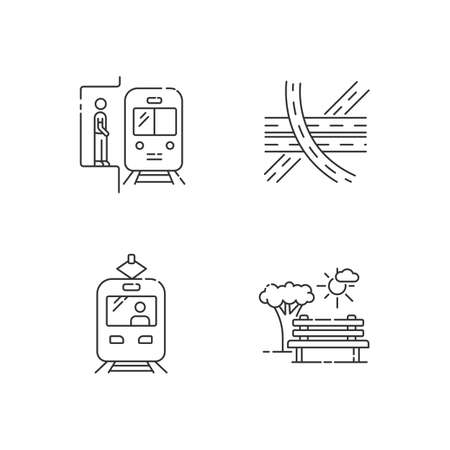 City transportation pixel perfect linear icons set. Subway station. Highway multi level junction. Customizable thin line contour symbols. Isolated vector outline illustrations. Editable stroke