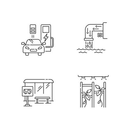 City structure pixel perfect linear icons set. Charge station for automobile. Drainage system. Customizable thin line contour symbols. Isolated vector outline illustrations. Editable stroke