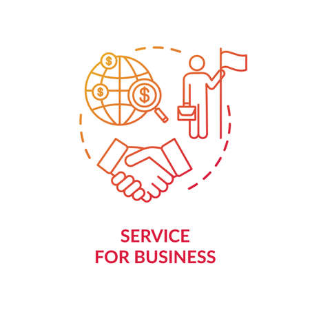 Service for business concept icon. International partnership idea thin line illustration. Company globalization. Businessmen agreement. Vector isolated outline RGB color drawing Ilustracja