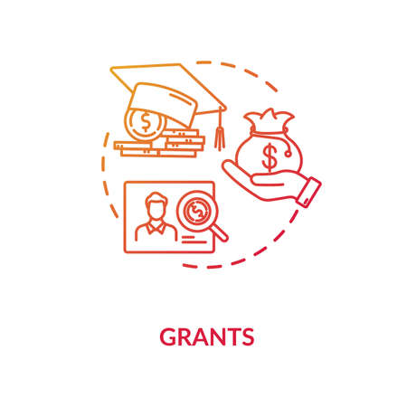 Grants concept icon. Higher education programs. Annual and monthly tuition fee. Academic degree getting idea thin line illustration. Vector isolated outline RGB color drawing Ilustración de vector