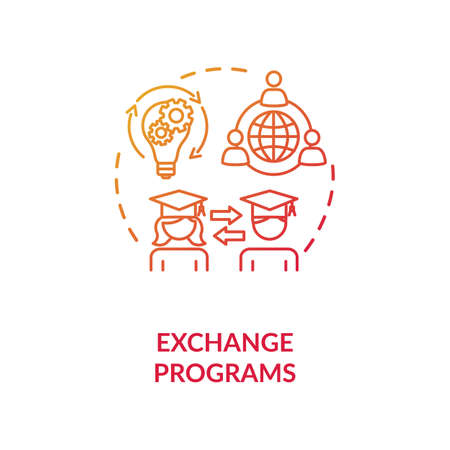 Exchange programs concept icon. International education. School and university students exchange idea thin line illustration. Vector isolated outline RGB color drawing Illustration