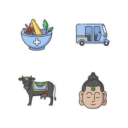 Indian culture RGB color icons set. Ayurveda. Alternative medicine. Auto rickshaw. Tuk-tuk. Holy cow. Sacred animal. Gautama Buddha. Founder of Buddhism. Isolated vector illustrations Illustration