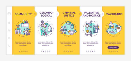 Community onboarding vector template. Support for elderly people. Psychiatric therapy. Nursing home. Responsive mobile website with icons. Webpage walkthrough step screens. RGB color concept