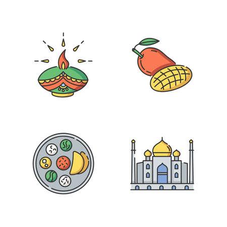 Indian culture RGB color icons set. Traditional diya. Diwali festival. Mango fruit. Tropical food. Thali dish. Chapati bread. Taj Mahal. Marble mausoleum. Isolated vector illustrations