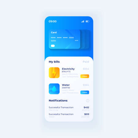 Credit card wallet smartphone interface vector template. Mobile app page white with blue design layout. Banking account screen. Flat UI for application. Paid house bills. Phone display