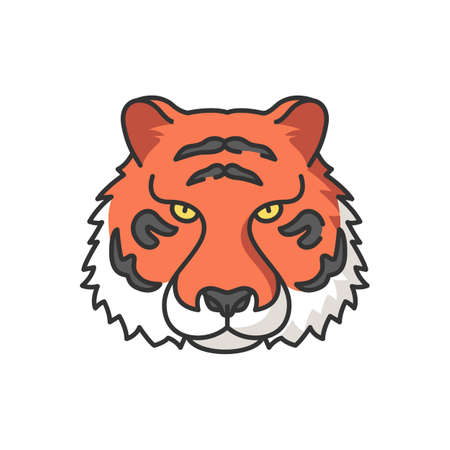 Bengal tiger RGB color icon. Panthera Tigris. National Indian animal. Symbol of power and strength. Extant big cat species. Lord of the Jungle. Asian wildlife. Isolated vector illustration
