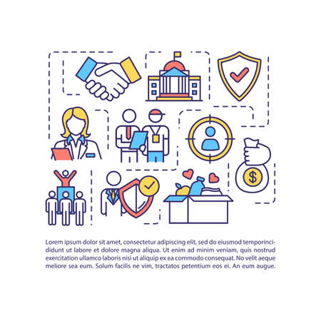 Government support concept icon with text. Volunteer organization help. Financial aid. PPT page vector template. Brochure, magazine, booklet design element with linear illustrations Ilustração Vetorial