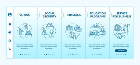 Social program onboarding vector template. Student exchange. Business service. International charity. Responsive mobile website with icons. Webpage walkthrough step screens. RGB color concept
