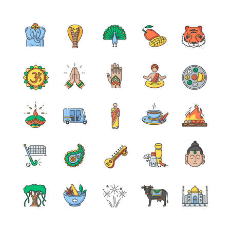 Indian culture RGB color icons set. National animals. Traditional ceremonies. Religious and spiritual symbols. Asian cuisine. Ethnic heritage. Isolated vector illustrations