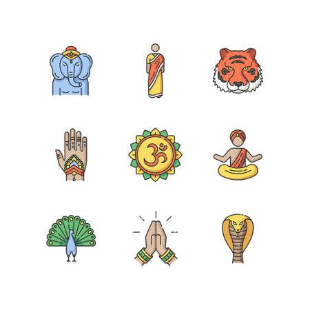 Indian spiritual symbols RGB color icons set. Om sound representation. Yoga practitioner. Namaste gesture. Lord Ganesha. Henna body art. Traditional sari.Isolated vector illustrations