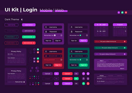 Login UI elements kit. Registration form. System authorization isolated vector icon, bar and dashboard template. Web design widget collection for mobile application with dark theme interface