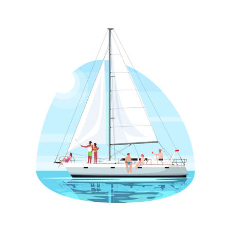 Multicultural group on regatta semi flat vector illustration. People rest on boat. Trip on luxury ship. Private yacht for voyage. Summer recreation 2D cartoon characters for commercial use