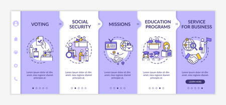 Social support onboarding vector template. Education exchange. Business service. International charity. Responsive mobile website with icons. Webpage walkthrough step screens. RGB color concept