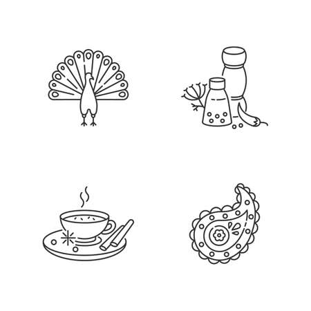 Indian culture pixel perfect linear icons set. Peacock. Masala chai. Paisley pattern. Spices and herbs. Customizable thin line contour symbols. Isolated vector outline illustrations. Editable stroke