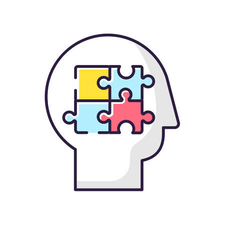 Elaboration RGB color icon. Puzzled mind. Logical mindset. Counseling for psychological problem. Analysis for smart solution. Human memory. Therapy for mental health. Isolated vector illustration