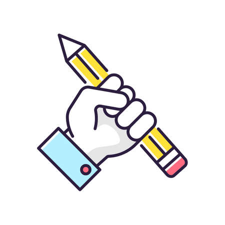 Research RGB color icon. Creative writing. Freedom of speech. Freelancer workshop. Journalism success. Motivated author. Inspired designer. Fist with pencil. Isolated vector illustration