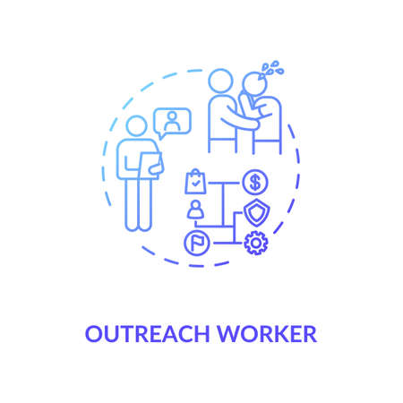 Outreach worker concept icon. Community service idea thin line illustration. Nonprofit organization. People emotional support. Vector isolated outline RGB color drawing