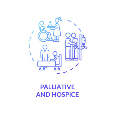 Palliative and hospice concept icon. Patient with chronic illness caregiving service idea thin line illustration. Social work. Vector isolated outline RGB color drawing Illusztráció