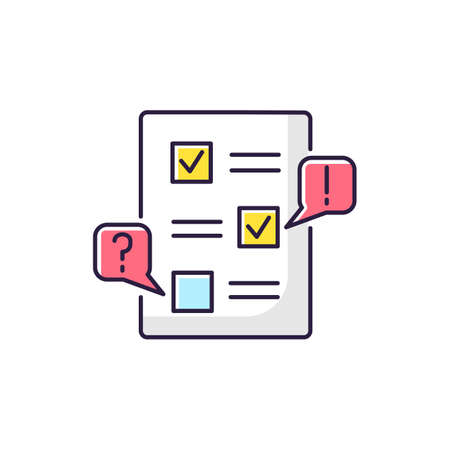 Edit RGB color icon. Checklist for draft. Examine paperwork for errors. Write and correct list. Incorrect work. Productivity review. Mark message. Grammar correction. Isolated vector illustration
