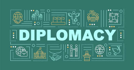 International diplomacy word concepts banner. Global cooperation. Political peace. Infographics with linear icons on green background. Isolated typography. Vector outline RGB color illustration Ilustracja